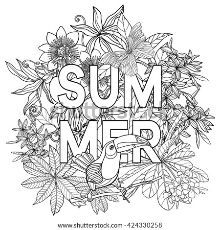 Adult Coloring Book Coloring Page Word Stock Vector 424330258