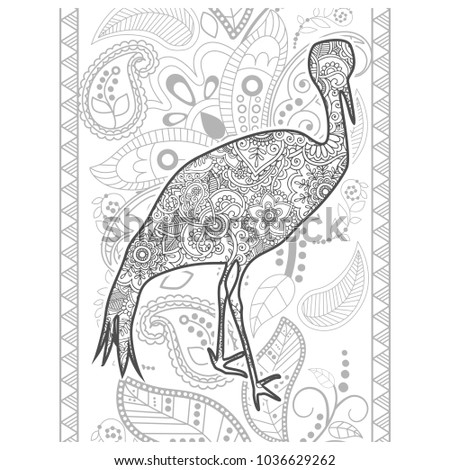 Adult Coloring Bookdoodle Page A Bird With Ornamental Background Stress Released Method