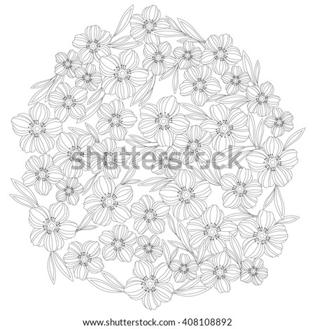 Adult Coloring Book Floral Pattern, Template - vector eps 10 - stock vector