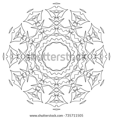 Adult Coloring Book Hand Drawn Background Stock Vector 735711505 ...