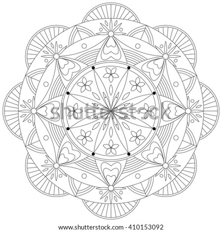 Adult Coloring Book Mandala Pattern / Template - vector eps 10 - stock vector