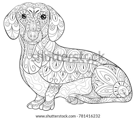 Adult Coloring Bookpage Cute Dog Relaxing Stock Vector 781416232