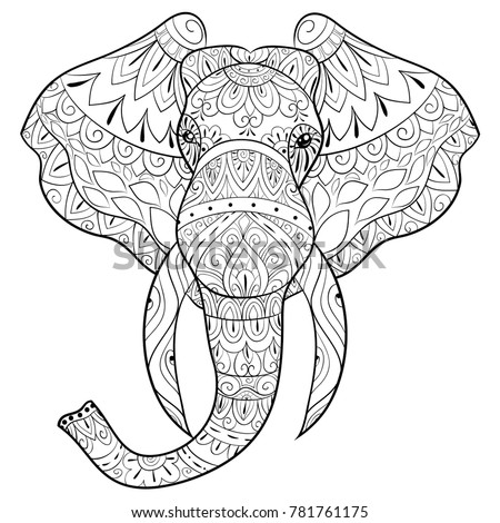 Adult Coloring Bookpage A Head Of Elephant For RelaxingZen Art Style Illustration