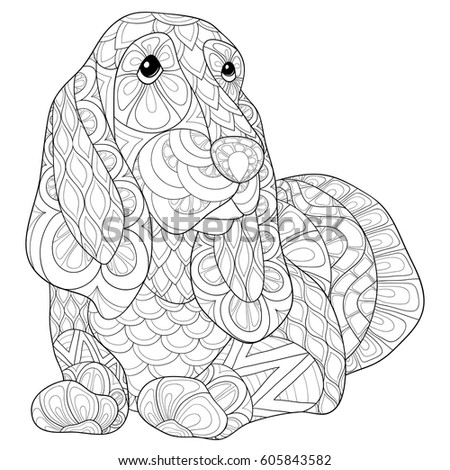 Adult Coloring Bookpage Cute Dog Art Stock Vector 605843582
