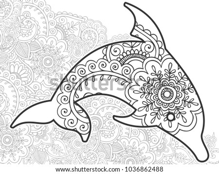 Adult Coloring Bookpage Of A Dolphin With Ornamental Background For Relaxing Stress Released