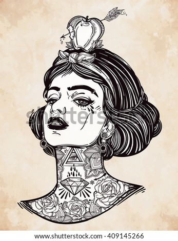 Adult coloring book page with the face of young tattooed girl with apple and arrow. Female portrait in flash tattoo style. Isolated vector illustration.