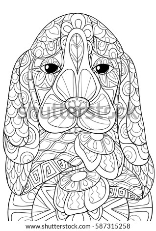Adult Coloring Bookpages Beagle DogZen Art Styledoodle