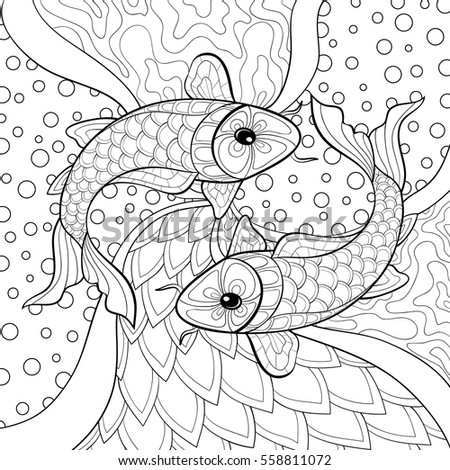 Adult Coloring Book With FishActivity For Adults