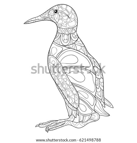 Adult Coloring Page Bird Vector Illustration