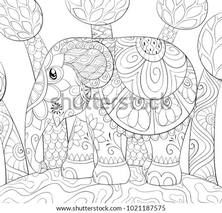 Adult Coloring Pagebook Cute Elephant On Stock Vector 1021187575 ...