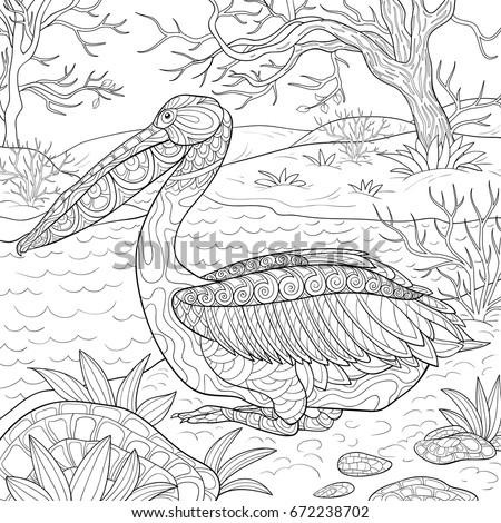 Adult Coloring Page,book A Cute Pelican With A Nature Background.Zen Art  Style
