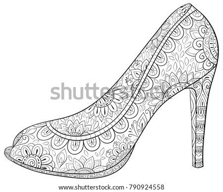 Adult Coloring Pagebook High Heel Shoes Stock Vector (2018 ...