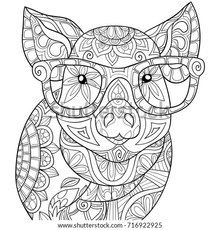coloring pages of pigs and piglets | Adult Coloring Pagebook Pig Style Art Stock Vector ...