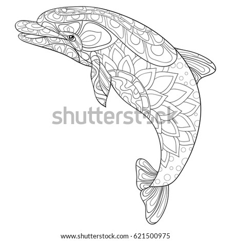Adult Coloring Page DolphinZen Art Style Vector Illustration
