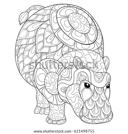 Adult Coloring Page Hippopotamus Vector Illustration