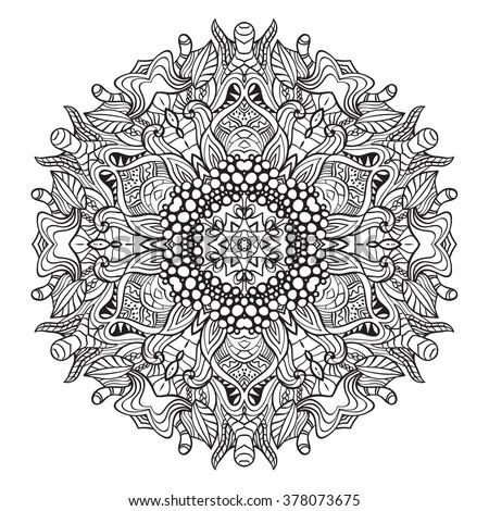 Adult Coloring Page Mandala Vector Art Stock Vector 378073675
