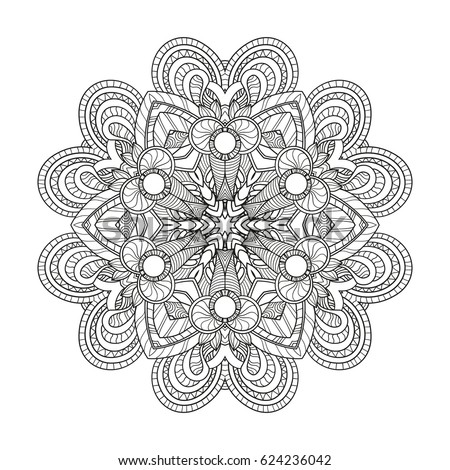 Zen Mandalas Coloring Book : Ornament round mandala lace pattern stock vector 349737734