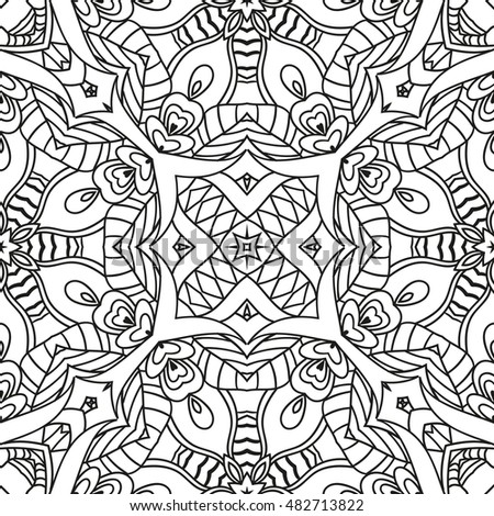 Adult Coloring Page Seamless Zendoodle Vector Stock Vector