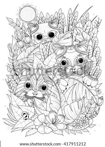adult coloring page - wild kitties hiding behind plants - stock vector