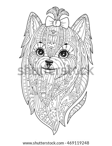 Adult coloring page with purebred dog in zendala style doodle yorkshire terrier with bowknot