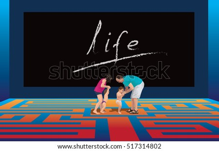 Adult couple teaching kids walking. Pavement as labyrinth. Symbolic how parenting is difficult. Vector color illustration.