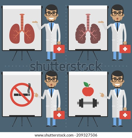 Adult doctor indicates on flipchart infographics - stock vector
