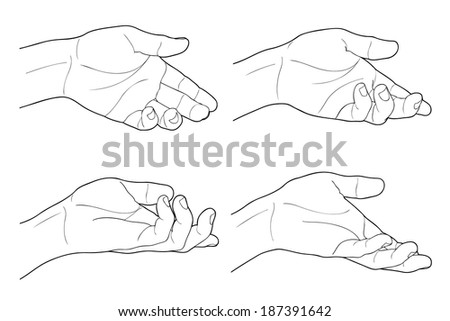 Adult man hand to hold something, isolated on white - stock vector