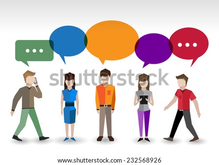 Adult pixel men and women avatars with speech bubbles people chat concept vector illustration