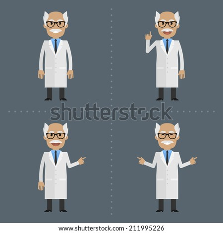 Adult scientist indicates in various poses - stock vector
