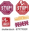 Adults Only Content Stamps - stock vector