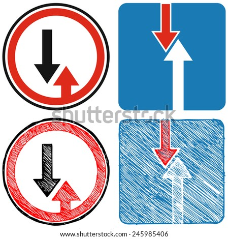 Advantage over oncoming traffic. Road signs priority. Doodle style - stock vector