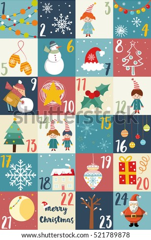 Advent Calendar Christmas Poster Printable Advent Calendar ...