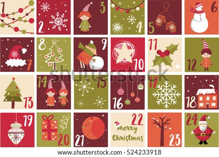 Advent Calendar Christmas Symbol Christmas Poster Stock Vector 2018