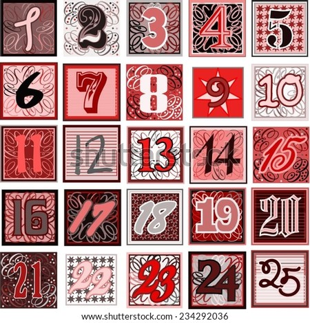 Advent calendar countdown - numbers 1-25