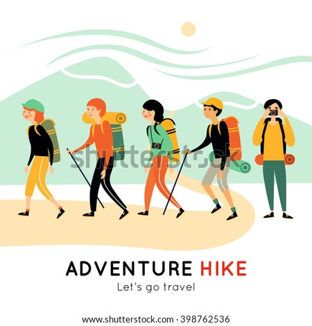 Adventure hike of happy friends with backpacks mats cameras walking sticks and  mountain landscape vector illustration  - stock vector
