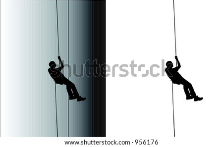 Adventure in Rappelling - stock vector