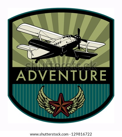 Adventure label, vector illustration - stock vector