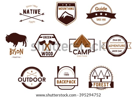Adventure Nature Badges Vector Logos - stock vector