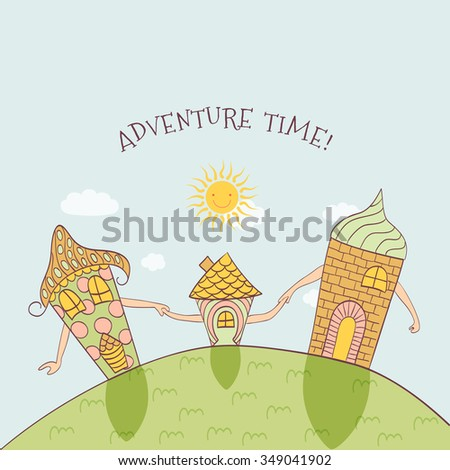 Adventure time - cute doodle illustration with mountains and family of walking houses - stock vector