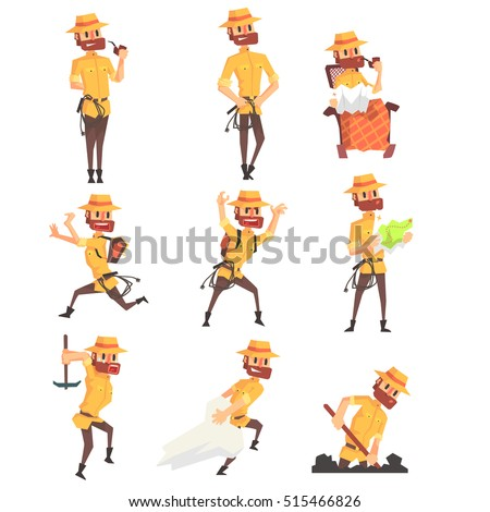 Adventurer Archeologist In Safari Suit With A Whip Set Of Activity Illustrations