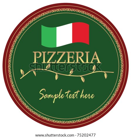 advertise label for pizzeria - stock vector