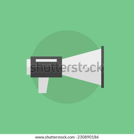 Advertisement announce, promotion campaign and public speak with loudspeaker. Flat icon modern design style vector illustration concept. - stock vector