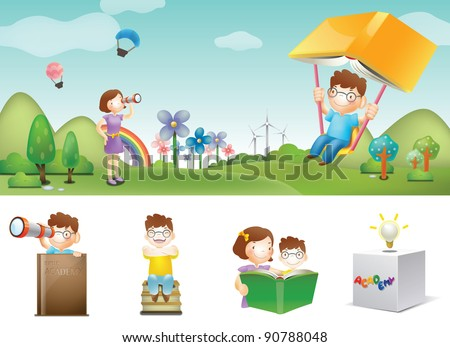 Advertisement for Academy School - with smiling schoolchild and mom at the camping park - stock vector