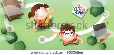 Advertisement for Academy School - with smiling schoolgirl and schoolboy on green background : vector illustration - stock vector