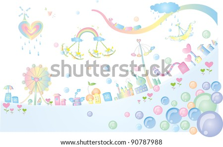 Advertisement for Happy Fantasy Land - on white and blue background : vector illustration - stock vector