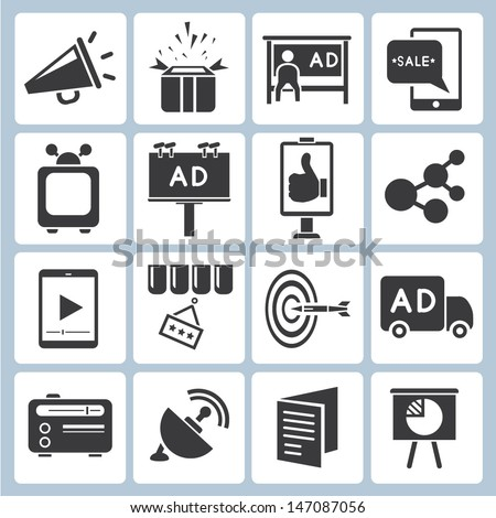 advertisement icons set, vector, marketing icons set - stock vector