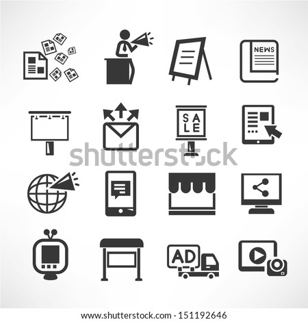 advertisement icons, social media icons - stock vector
