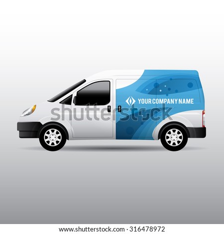 Advertisement or corporate identity design template on white van. For business, branding and advertising companies. - stock vector
