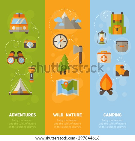Advertisement set of concept banners with flat hiking icons for camping - car, tent, campfire, mountains, trees, camera, backpack, map - stock vector