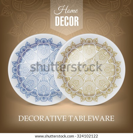 Advertising banner with decorative ceramic tableware for gift shop and store utensils. Vector illustration - stock vector